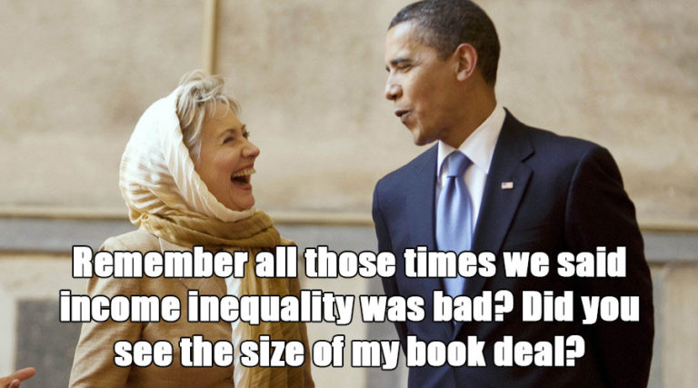 Obama, Clinton, income inequality, laugh